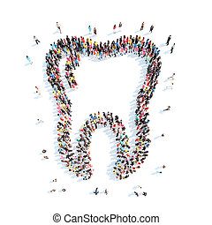 people in the shape of a tooth - A large group of people in...