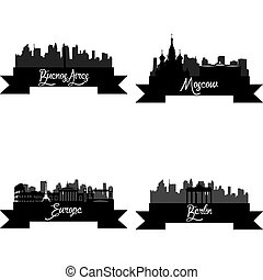 Skylines - Set of skylines with monuments on a white...