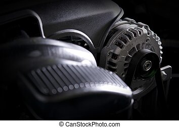 Car Alternator Closeup Photo Modern Car Electric Generator...
