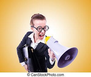 jovem, homem negócios, com, alto-falante, contra, a,...