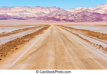 Death Valley Desert Road and the Valley Raw Landscape.