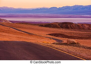 Death Valley Raw Scenery at Dusk. Valley Road. California,...