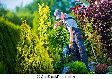 Firing Up Hedge Trimmer - Firing Up Gasoline Hedge Trimmer...