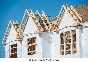 New House Construction Closeup Photo House Wooden...