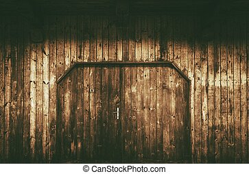 Old Wooden Gate with Doors Aged Wood Barn Wall