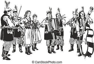 Polish Traditional Folk Band Krakowiaki as Black and White...
