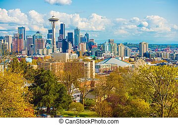Seattle Washington Skyline. Spring in the Seattle, WA,...