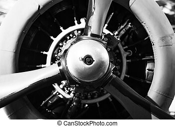Vintage Aircraft Propeller with Radial Engine. World War II...