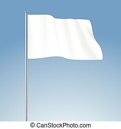 Vector White Blank Flag Isolated
