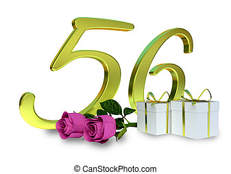 fifty-first birthday concept with pink roses - 56th -...