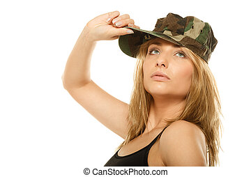 Beautiful woman in military clothes isolated