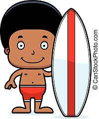 Cartoon Smiling Surfer Boy
