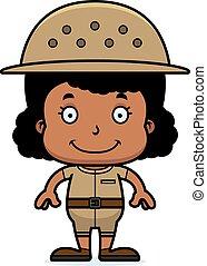 Cartoon Smiling Zookeeper Girl