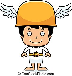 Cartoon Smiling Hermes Boy - A cartoon Hermes boy smiling