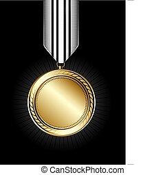 Gold Medal - Illustration of a shiny gold medal on a black...