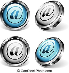 E-mail Web Buttons - Four shiny web buttons with arobase...