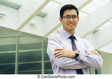 Portrait Chinese Businessman Smiling Outside Office Text...