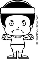 Cartoon Angry Fitness Boy - A cartoon fitness boy looking...