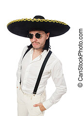 Mexican man wearing sombrero isolated on white