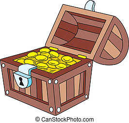 Treasure chest - Vector illustration of open wooden treasure...