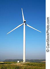 Wind turbine in a windfarm close to the Danube river