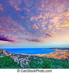 Javea Xabia aerial skyline sunset in Alicante - Javea Xabia...