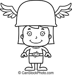 Cartoon Smiling Hermes Girl - A cartoon Hermes girl smiling