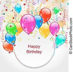 Birthday Celebration Card with Colorful Balloons