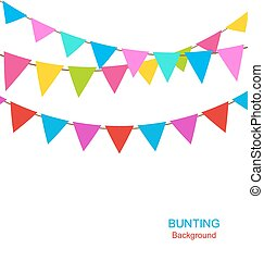 Set Colorful Buntings Flags Garlands for Holiday -...