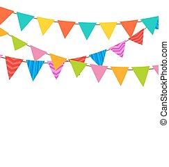 Set Bunting Pennants with Ornamental Texture - Illustration...
