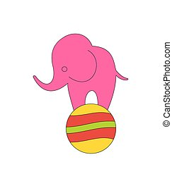 Baby Circus Elephant Balancing on Ball - Illustration Baby...