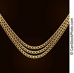 Beautiful Golden Chains Isolated on Black Background -...