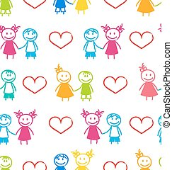 Seamless Romantic Wallpaper with Couple