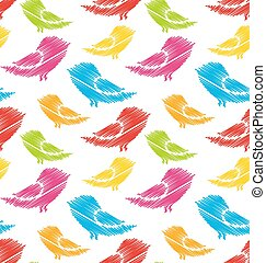 Seamless Pattern with Abstract Colorful Birds
