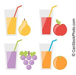 Set of Fresh Fruit Juices - Illustration