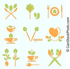 Collection of Labels Healthy Eating - Illustration...