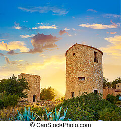 Javea Xabia el molins at sunset in Alicante - Javea Xabia el...