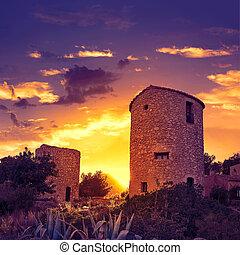 Javea Xabia el molins at sunset in Alicante - Javea Xabia el...