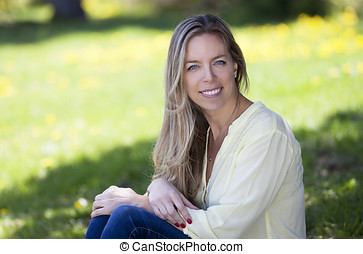 Mature woman smiling in nature - Copy Space, Women, Nature,...