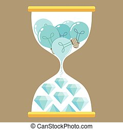 Business idea with bulb and Diamond sign in hourglass