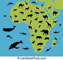 Animals on the map of Africa and their habitats