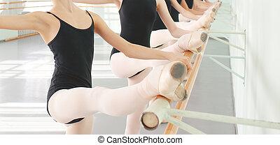 legs of dancers ballerinas in class classical dance, ballet...