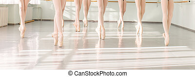 legs of dancers ballerinas in class classical dance, ballet...