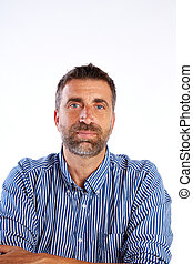 beard mid age man portrait on white background