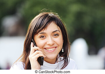Brunette with phone
