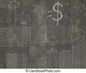Business concepts doodles on dark brown wooden wall...