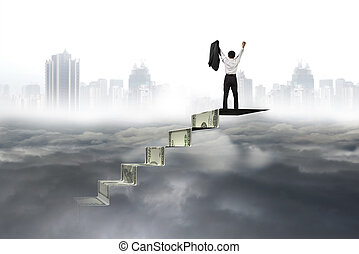 Man cheering on top of money stairs cityscape cloudscape