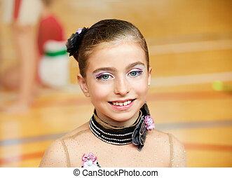 kid girl rhythmic gymnastics on wooden deck portrait