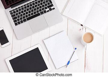 Workplace business. laptop, coffee, pen notebook - Workplace...