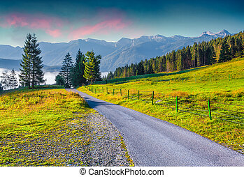 Colorful summer sunrise in the Triglav national park,...